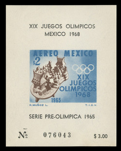 MEXICO Scott # C 311a, 1965 1968 Olympics, Souvenir Sheet of 1, Imperforate