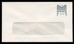 U.S. Scott # U 646G 2001 34c Federal Eagle - Grey and Grey - Mint Envelope, UPSS Size 12-WINDOW