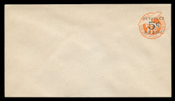 U.S. Scott # UC 12 1946 5c on 6c (UC5N) Plane, Orange Background, Die 2c, NO Border - Mint Envelope, UPSS Size 13