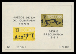 MEXICO Scott # C 331a, 1967 1968 Olympics, Souvenir Sheet of 2, Imperforate