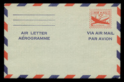 U.S. Scott # UC 16d 1955 10c DC-4 Skymaster, Air Letter/Aerogramme Front, 2-Line Back - Mint Air Letter Sheet