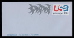 "U.S. Scott # UC 44a 1971 15c Birds in Flight, ""Air Mail/Aerogramme"" - Mint Air Letter Sheet"
