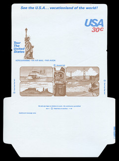 U.S. Scott # UC 53D 1980 30c U.S.A., Brown Statue of Liberty, Die Cutting Reversed - Mint Air Letter Sheet, UNFOLDED