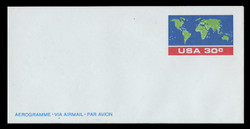 U.S. Scott # UC 56 1983 30c U.S.A., & World Map - Mint Air Letter Sheet