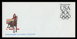 U.S. Scott # UC 57 1983 30c Olympics - Equestrian - Mint Air Letter Sheet
