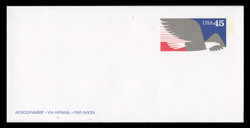 U.S. Scott # UC 63a 1991 45c Foreign Letter Rate, white paper - Mint Air Letter Sheet