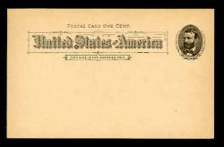 U.S. Scott # UX  10T2, 1891 1c Ulysses S. Grant, black on buff, Type II - Mint Postal Card (See Warranty)