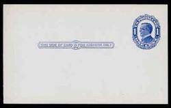 "U.S. Scott # UX  22TN, 1910 1c William McKinley, NO Background Lines, blue on blue/grey, ""Thin Paper Variety"" - Mint Postal Card (See Warranty)"