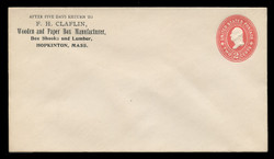 U.S. Scott # U 362, 1899 2c Washington, Die 2, carmine on white - Mint Envelope, UPSS Size 10
