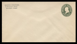 U.S. Scott # U 400, 1907-16 1c Franklin, green on white, Die 1 - Mint Envelope, UPSS Size 13