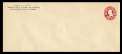 U.S. Scott # U 411a, 1907-16 2c Washington, carmine on white, Die 2 - Mint Envelope, UPSS Size 23
