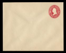 U.S. Scott # U 411d, 1907-16 2c Washington, carmine on white, Die 5 - Mint Envelope, UPSS Size 16
