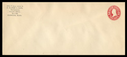 U.S. Scott # U 411d, 1907-16 2c Washington, carmine on white, Die 5 - Mint Envelope, UPSS Size 23