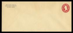 U.S. Scott # U 412d, 1907-16 2c Washington, carmine on amber, Die 5 - Mint Envelope, UPSS Size 21