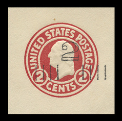 U.S. Scott # U 454a, 1920-1 2c on 2c (U429) Washington, carmine on white, Die 1 - Mint Cut Square
