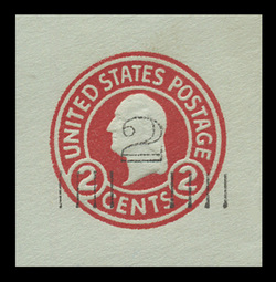 U.S. Scott # U 457a, 1920-1 2c on 2c (U432e) Washington, carmine on blue, Die 5 - Mint Cut Square