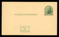 U.S. Scott # UX  39d/UPSS #S56-1f, 1952 2c on 1c Thomas Jefferson (UX27), green on buff - Mint Postal Card Error (See Warranty)