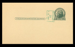 U.S. Scott # UX  39/UPSS #S56-2, 1952 2c on 1c Thomas Jefferson (UX27), green on buff - Mint Postal Card (See Warranty)