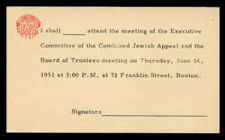 Combined Jewish Appeal, Board Meeting Notice (On Scott #UX27) - Period of use, June 1951.