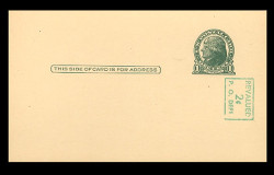 U.S. Scott # UX  39a/UPSS #S56-3, 1952 2c on 1c Thomas Jefferson (UX27), green on buff - Mint Postal Card (See Warranty)