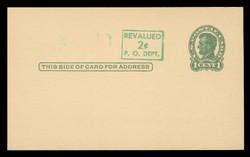U.S. Scott # UX  40/UPSS #S58-1H3, 1952 2c on 1c Abraham Lincoln (UX28), green on buff, Head 3 - Mint Postal Card (See Warranty)