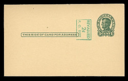 U.S. Scott # UX  40a/UPSS #S58-2H3, 1952 2c on 1c Abraham Lincoln (UX28), green on buff, Head 3, vertical surcharge at left - Mint Postal Card (See Warranty)