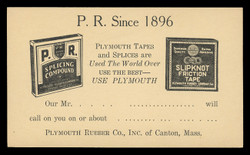 Plymouth Rubber Co., Tapes & Splices Advertising Postal Card (On Scott #UX27) - Est. period of use, late 1940s.