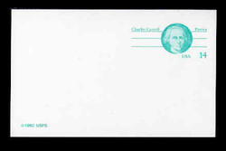 U.S. Scott # UX 106FM, 1985 14c Charles Carroll - Patriot Series - Mint Postal Card, FLUORESCENT (Medium Bright) PAPER (See Warranty)