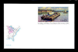 U.S. Scott # UX 124FM, 1988 15c Settling of Ohio, Northwest Territory, 1788 - Mint Postal Card, FLUORESCENT (Medium Bright) PAPER (See Warranty)