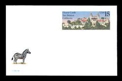 U.S. Scott # UX 125FM, 1988 15c Hearst Castle, San Simeon, California - Mint Postal Card, FLUORESCENT (Medium Bright) PAPER (See Warranty)