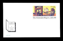 U.S. Scott # UX 126FM, 1988 15c The Federalist Papers, 1787-88 - Mint Postal Card, FLUORESCENT (Medium Bright) PAPER (See Warranty)