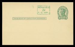 U.S. Scott # UX  40YB/UPSS #S58-1YBH3, 1952 2c on 1c Abraham Lincoln (UX28), green on yellow buff, Head 3 - Mint Postal Card (See Warranty)