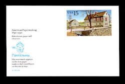 U.S. Scott # UX 145FM, 1990 15c Rittenhouse Paper Mill, Germantown, PA - Mint Postal Card, FLUORESCENT (Medium Bright) PAPER (See Warranty)
