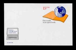 U.S. Scott # UX 146FM, 1990 15c World Literacy Year - Mint Postal Card, FLUORESCENT (Medium Bright) PAPER (See Warranty)