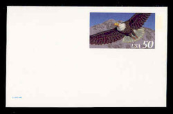 U.S. Scott # UX 219AFM, 1995 50c Eagle for International Rate - Mint Postal Card, FLUORESCENT (Medium Bright) PAPER (See Warranty)