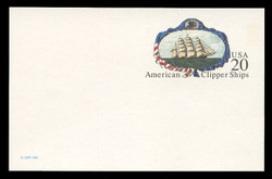 U.S. Scott # UX 220FM, 1995 20c American Clipper Ships - Mint Postal Card, FLUORESCENT (Medium Bright) PAPER (See Warranty)
