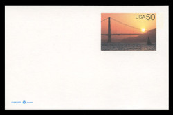 U.S. Scott # UX 283FM, 1997 20c Golden Gate Bridge at Sunset - Mint Postal Card, FLUORESCENT (Medium Bright) PAPER (See Warranty)