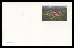 U.S. Scott # UX 284FM, 1997 20c Fort McHenry - Mint Postal Card, FLUORESCENT (Medium Bright) PAPER (See Warranty)