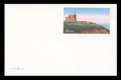 U.S. Scott # UX 306FM, 1999 20c Block Island Lighthouse - Mint Postal Card, FLUORESCENT (Medium Bright) PAPER (See Warranty)