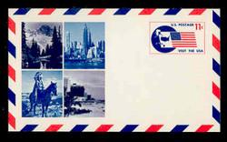 U.S. Scott # UXC  5FM 1966 11c Visit the U.S.A., Flag and Map - Mint Postal Card, FLUORESCENT (Medium Bright) PAPER (See Warranty)