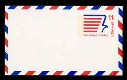 U.S. Scott # UXC 14FxH/UPSS #SA13bFxH, 1974 11c Stylized Eagle & Mail Early Message - Mint Postal Card, FLUORESCENT (High Bright) PAPER (See Warranty)