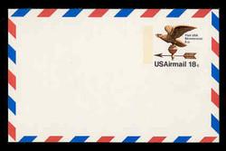 U.S. Scott # UXC 15FxH, 1974 18c Eagle Weather Vane - Mint Postal Card, FLUORESCENT (High Bright) PAPER (See Warranty)