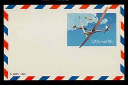 U.S. Scott # UXC 20FM, 1982 28c Gliders - Mint Postal Card, FLUORESCENT (Medium Bright) PAPER (See Warranty)