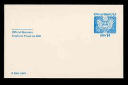U.S. Scott # UZ 03FM, 1985 14c Official Mail, white on blue - Mint Postal Card, FLUORESCENT (Medium Bright) PAPER (See Warranty)