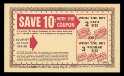Colgate-Palmolive-Peet Co., 10¢ Store Coupon Card (On Scott #UX27) - Est. period of use, late 1940s.