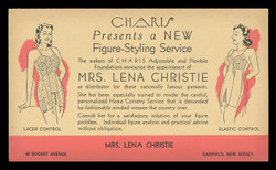 Charis Foundation Garments (Lena Christie, Distributor) Advertising Postal Card (On Scott #UX27) - Est. period of use, late 1940s.