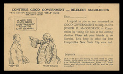 Election Card: Joseph D. McGoldrick, N.Y.C. Comptroller (On Scott #UX27) - Est. period of use, 1941 Election.
