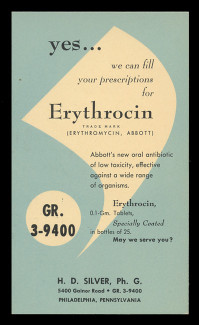 Abbott Labs, Erythrocin Tablets (Antibiotic) (On Scott #UX41) - Est. period of use, early 1950s.