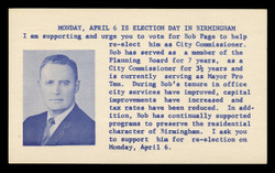 Election Card: Bob Page, Birmingham AL City Commissioner (On Scott #UX48) - Est. period of use, mid 1960s.