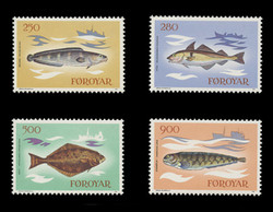 FAROE ISLANDS Scott #  97-100, 1983 Fish - Tusk, Haddock, Halibut, Catfish (Set of 4)
